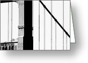 Black-and-white Photographs Greeting Cards - San Francisco Golden Gate Bridge . Black and White Photograph . 7D7954 Greeting Card by Wingsdomain Art and Photography