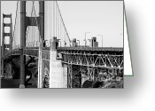 Ggbridge Greeting Cards - San Francisco Golden Gate Bridge . Black and White Photograph . 7D8166 Greeting Card by Wingsdomain Art and Photography