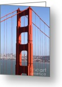 Ggbridge Greeting Cards - San Francisco in The Distance Through The Golden Gate Bridge . 7D14512 Greeting Card by Wingsdomain Art and Photography