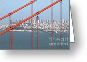Steel Construction Greeting Cards - San Francisco in The Distance Through The Golden Gate Bridge . 7D14538 Greeting Card by Wingsdomain Art and Photography