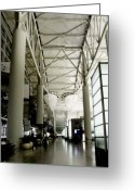 Black And White Photos Pyrography Greeting Cards - San Francisco International Airport Greeting Card by Fareeha Khawaja