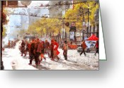 Cityscape Digital Art Greeting Cards - San Francisco Market Street . 40D3701 Greeting Card by Wingsdomain Art and Photography