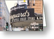 Traffic Light Greeting Cards - San Francisco Marquards Little Cigar Store on Powell and OFarrell Streets - 5D17954 - Painterly Greeting Card by Wingsdomain Art and Photography