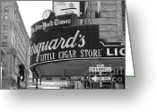 Traffic Light Greeting Cards - San Francisco Marquards Little Cigar Store Powell and OFarrell Streets - 5D17954 - black and white Greeting Card by Wingsdomain Art and Photography