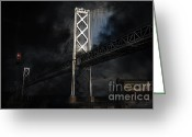 Big Cities Greeting Cards - San Francisco Nights At The Bay Bridge . 7D7748 Greeting Card by Wingsdomain Art and Photography