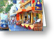 Streets Digital Art Greeting Cards - San Francisco North Beach Outdoor Dining Greeting Card by Wingsdomain Art and Photography