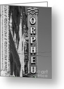 Musicals Greeting Cards - San Francisco Orpheum Theatre - 5D17996 - black and white Greeting Card by Wingsdomain Art and Photography