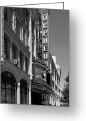 Musicals Greeting Cards - San Francisco Orpheum Theatre - 5D17997 - black and white Greeting Card by Wingsdomain Art and Photography