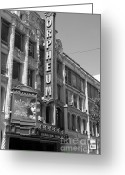 Musicals Greeting Cards - San Francisco Orpheum Theatre - 5D18007 - black and white Greeting Card by Wingsdomain Art and Photography