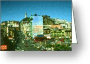 Residential Drawings Greeting Cards - San Francisco Pop Art - Telegraph Hill Greeting Card by Peter Art Prints Posters Gallery