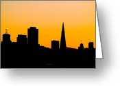 Blacks Greeting Cards - San Francisco Silhouette Greeting Card by Bill Gallagher