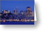 San Francisco Photo Greeting Cards - San Francisco Skyline At Dusk Greeting Card by David Rout