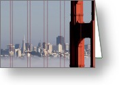 San Francisco Greeting Cards - San Francisco Skyline From Golden Gate Bridge Greeting Card by Mona T. Brooks