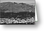 Mountain Ranges Greeting Cards - San Francisco Skyline-Golden Gate Bridge Greeting Card by Douglas Barnard