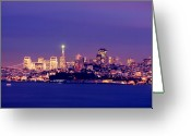 Pyramid Pyrography Greeting Cards - San Francisco Skyline Greeting Card by Kevin Ho
