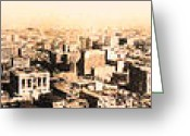 Long Street Greeting Cards - San Francisco Skyline Panorama 1909 From The Ferry Building Through South of Market Greeting Card by Wingsdomain Art and Photography