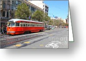 Billboards Greeting Cards - San Francisco Streetcar at The Orpheum Theatre - 5D17998 - Painterly Greeting Card by Wingsdomain Art and Photography