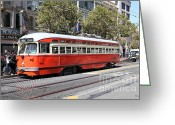 Billboards Greeting Cards - San Francisco Streetcar at The Orpheum Theatre - 5D17999 Greeting Card by Wingsdomain Art and Photography