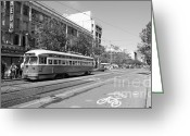 Billboards Greeting Cards - San Francisco Streetcar at The Orpheum Theatre - 5D18000 - black and white Greeting Card by Wingsdomain Art and Photography