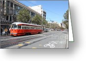 Long Street Greeting Cards - San Francisco Streetcar at The Orpheum Theatre - 5D18000 Greeting Card by Wingsdomain Art and Photography