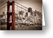Selective Color Greeting Cards - San Francisco through the Bridge Greeting Card by Matt  Trimble