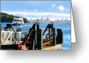 Landing Painting Greeting Cards - San Francisco Tiburon Ferry Greeting Card by Mary Helmreich