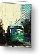 Cityscape Digital Art Greeting Cards - San Francisco Trolley F Line On Market Street Greeting Card by Wingsdomain Art and Photography