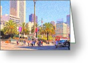 Maiden Greeting Cards - San Francisco Union Square Greeting Card by Wingsdomain Art and Photography