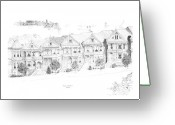 San Francisco Drawings Greeting Cards - San Francisco Victorians Greeting Card by Edward Williams
