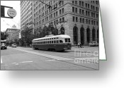 Cable Cars Photo Greeting Cards - San Francisco Vintage Streetcar on Market Street - 5D17862 - black and white Greeting Card by Wingsdomain Art and Photography