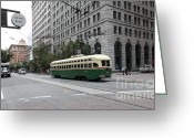 Cable Cars Photo Greeting Cards - San Francisco Vintage Streetcar on Market Street - 5D17862 Greeting Card by Wingsdomain Art and Photography