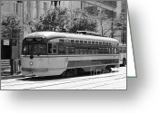 Cable Cars Photo Greeting Cards - San Francisco Vintage Streetcar on Market Street - 5D17972 - black and white Greeting Card by Wingsdomain Art and Photography