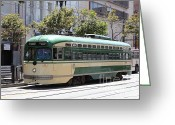Cable Cars Photo Greeting Cards - San Francisco Vintage Streetcar on Market Street - 5D17972 Greeting Card by Wingsdomain Art and Photography