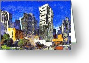 Mario Art Greeting Cards - San Francisco Yerba Buena Garden Through The Eyes of Van Gogh . 7D4262 Greeting Card by Wingsdomain Art and Photography