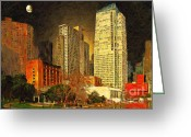Highrises Greeting Cards - San Francisco Yerba Buena Garden Greeting Card by Wingsdomain Art and Photography