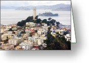 Place Greeting Cards - San Franciscos Coit Tower Greeting Card by Thomas Hawk