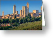 Tuscan Greeting Cards - San Gimignano Skyline Greeting Card by Inge Johnsson