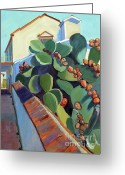 San Juan Bautista Greeting Cards - San Juan Bautista Prickly Pear Greeting Card by Sandra Smith-Dugan