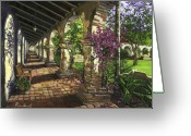 Portico Greeting Cards - San Juan Capistrano Greeting Card by Lisa Reinhardt