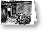 Puerto Rico Drawings Greeting Cards - San Juan Gate Greeting Card by Angel Serrano