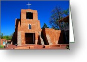 Santa Fe Greeting Cards - San Miguel Chapel in Santa Fe Greeting Card by Susanne Van Hulst