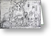 Streets Drawings Greeting Cards - San Miguel de Allende Greeting Card by Bill Joseph  Markowski