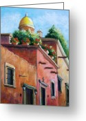 Adobe Pastels Greeting Cards - San Miguel de Allende Greeting Card by Candy Mayer