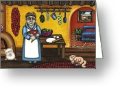 Fireplace Greeting Cards - San Pascual and Kittens Greeting Card by Victoria De Almeida