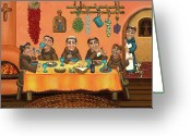 Franciscan Greeting Cards - San Pascuals Table 2 Greeting Card by Victoria De Almeida