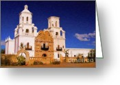 Tucson Arizona Digital Art Greeting Cards - San Xavier del Bac Mission Greeting Card by Steve Bailey