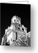Scroll-work Greeting Cards - San Xavier Mission BW Greeting Card by Lawrence Burry
