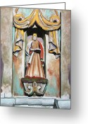 Stone Pastels Greeting Cards - San Xavier Statue Greeting Card by M Diane Bonaparte