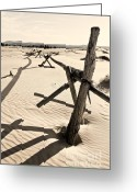 Sand Fences Photo Greeting Cards - Sand and Fences Greeting Card by Heather Applegate