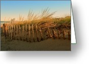 Dune Grass Greeting Cards - Sand Dune in Late September - Jersey Shore Greeting Card by Angie McKenzie